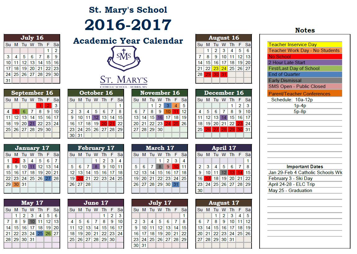 2016-2017 School Year Calendar | St. Mary\'s Catholic School | Morris, MN
